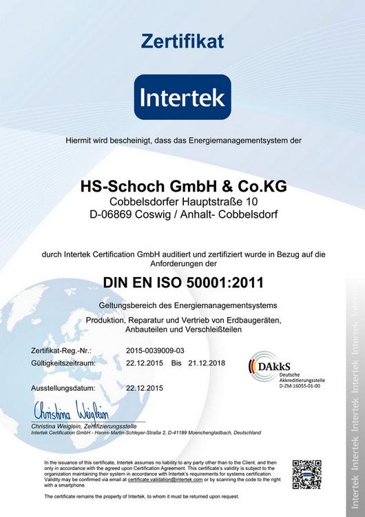ISO-Zertifizierung - HS Schoch Erdbaugeräte